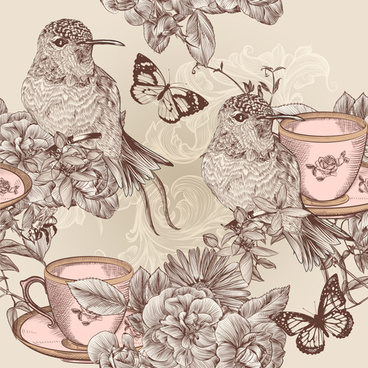 hand drawn birds vintage style vector