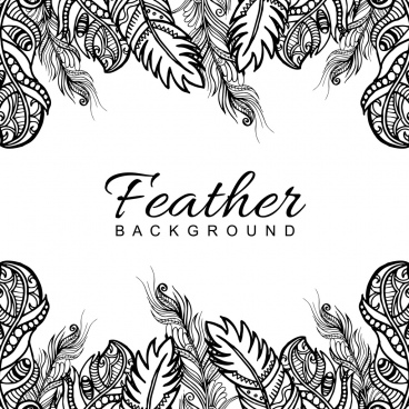 hand drawn black white feather frame background