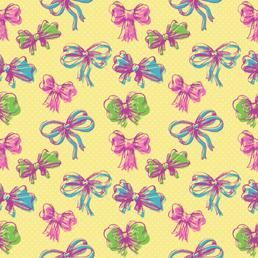 hand drawn bow seamless pattern vector