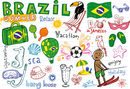 hand drawn brazil elements vector