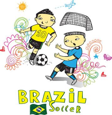 hand drawn brazil elements vector