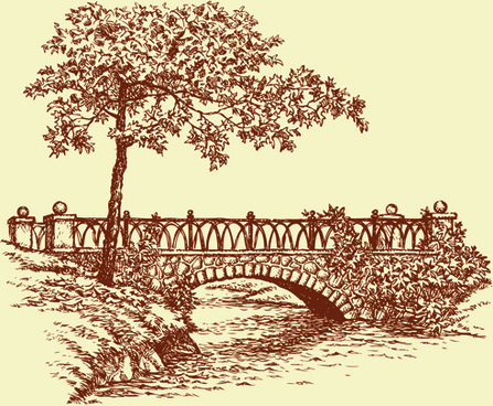 hand drawn bridges retro style vector