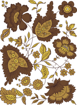 hand drawn brown flower vector