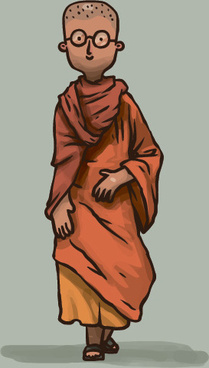 hand drawn buddhist monk vector