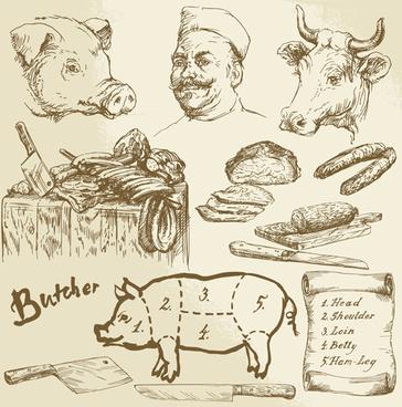 hand drawn butcher elements vector