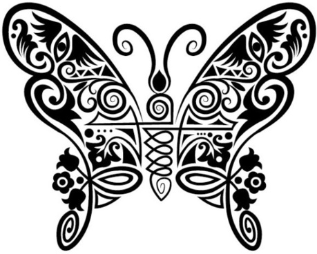 hand drawn butterfly decoration pattern vector