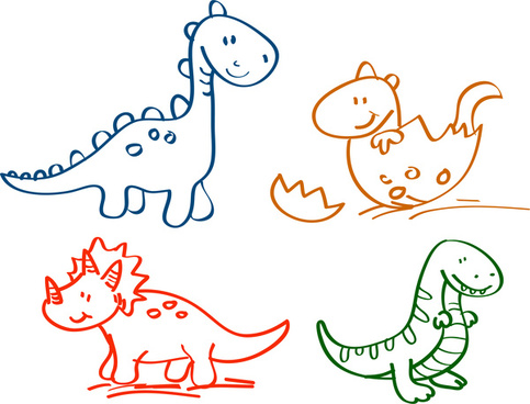 hand drawn cartoon dinosaur collection