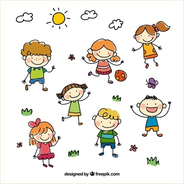 hand drawn cartoon kids vector