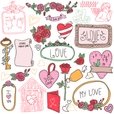 hand drawn cartoon love elements vector