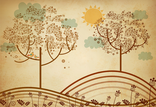 hand drawn cartoon vector illustration of scenery