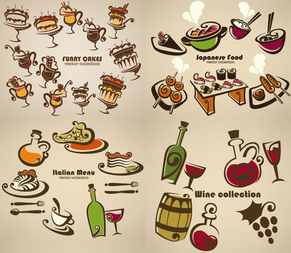 hand drawn cartoons food vector