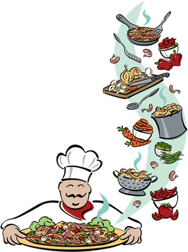 hand drawn chef and his tools vector