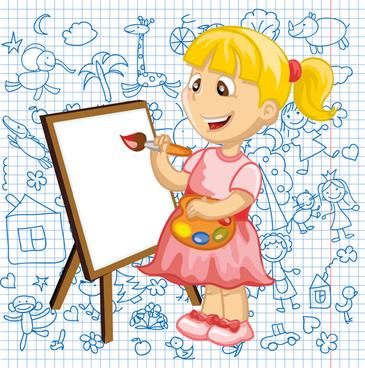 hand drawn children pattern with school elements vector