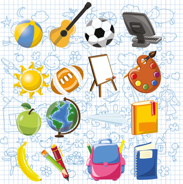 hand drawn children pattern with school elements vector