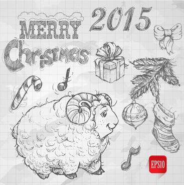 hand drawn christmas15 sheep year elements vector