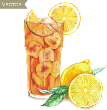 hand drawn cocktail watercolor vector