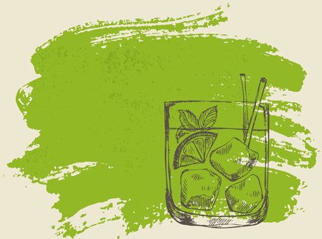 hand drawn cocktail with grunge background