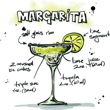 hand drawn cocktails recipes vector