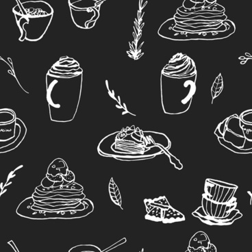 hand drawn coffee and cake seamless pattern vector
