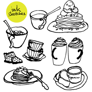 hand drawn coffee and cake vector graphics