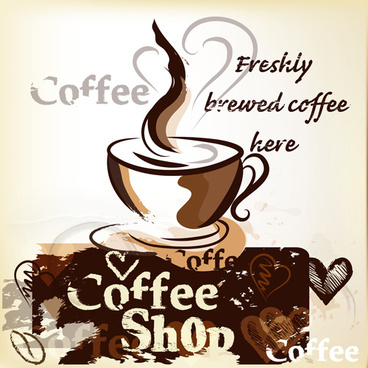 hand drawn coffee art backgrounds