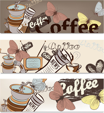 hand drawn coffee banner elements vector