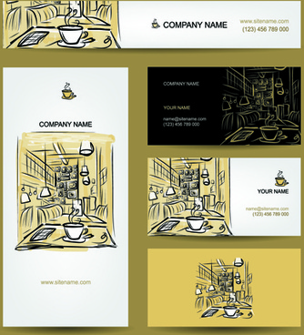 hand drawn coffee house business card vector