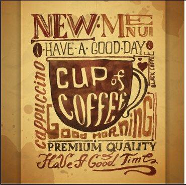 hand drawn coffee poster retro style vector