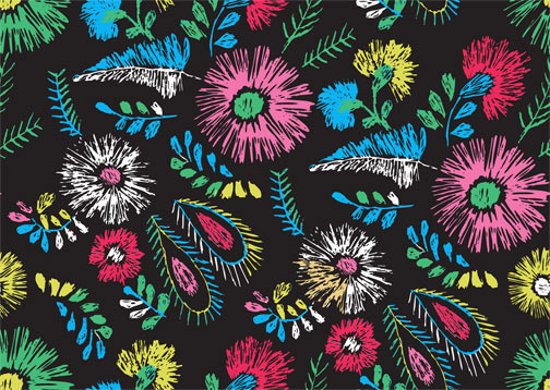 hand drawn colored flower and feather pattern vector