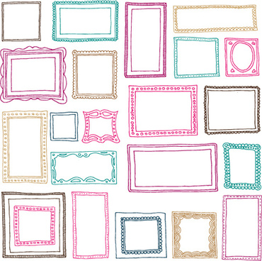 hand drawn colored frame vector