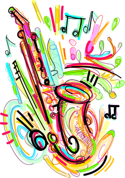 hand drawn colored musical instruments vector