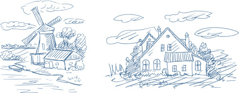 hand drawn countryside landscapes vector
