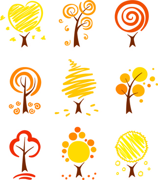 hand drawn cute autumn tree vector