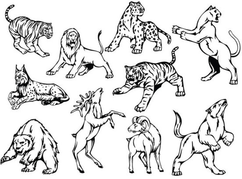 hand drawn different animal design vector