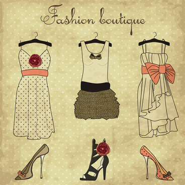 hand drawn fashion design elements vector