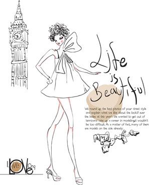 hand drawn fashion girls vector