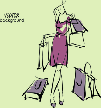 hand drawn fashion woman background