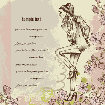 hand drawn fashion woman vector background set