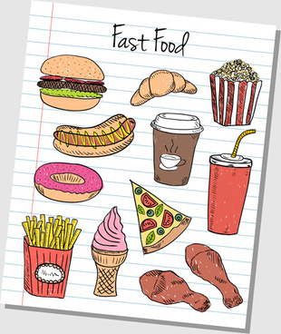 hand drawn fast food elements