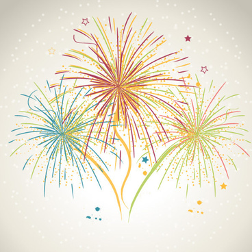 hand drawn fireworks with stars vector background