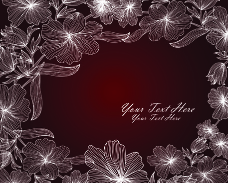 hand drawn floral backgrounds vector