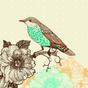 hand drawn floral backgrounds with birds vector