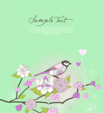 hand drawn floral cards art design vector