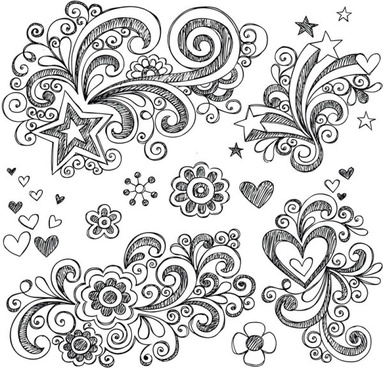 hand drawn floral decor design vector set
