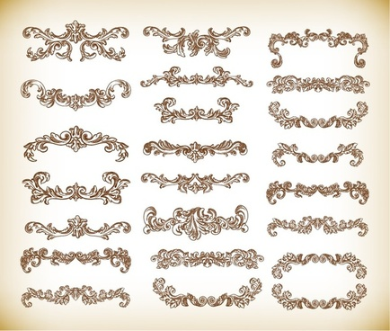 hand drawn floral decorative elements vector graphics set