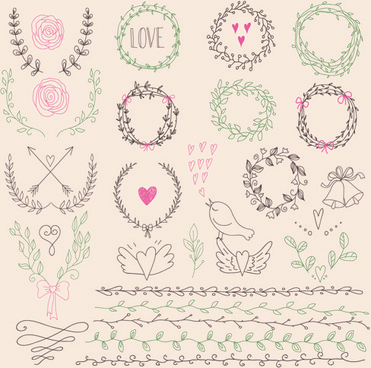 hand drawn floral frame with border vector