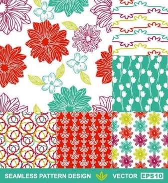 hand drawn florals pattern vector graphic
