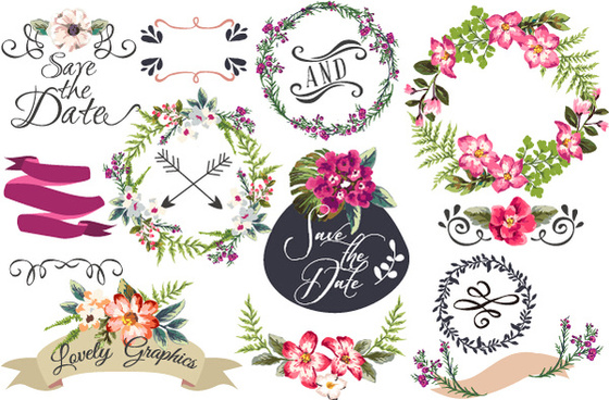hand drawn flower frame with ornament elements vector