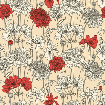 hand drawn flower pattern art vector