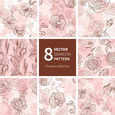 hand drawn flower vector seamless patterns